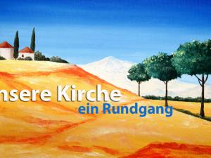 Ein Bild, das in unserer Kirche hängt, gemalt von Teilnehmern am Malkreis.